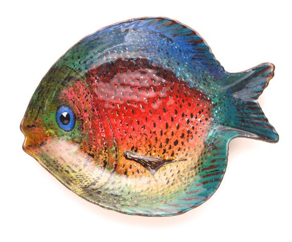 Hand painted fish glass bowl for Painted glass fish