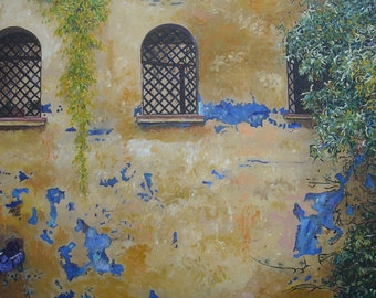 "THREE Windows - Original acrylic-Acrylic - 60 x 95 cm - 23.6 ""x 37, 4"" in - Amgros art"