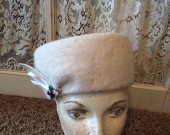 Vintage Winter White Jeweled Hat