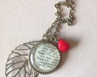 HOPE dictionary necklace
