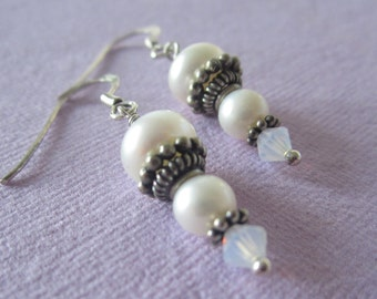 Bridal Bouquet - White Pearl Sterling Earrings