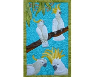 Cockatoos is a quilted applique pattern for a wall hanging