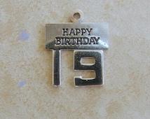 Wells Happy Birthday 19 Sterling Silver Bracelet Charm Vintage