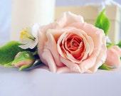 Hair clip rose barrette cold porcelain, polymer clay barrette, barrette with flower, rose hair red rose