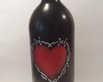 Handpainted Wine Bottle