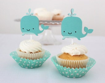 12 x Whale Cupcake Toppers - Under the Sea, Nautical, Birthday Party