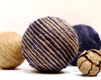"""Set of 2 decorative vase fillers, decorative ball, rustic decoration, brown and blue vase filler, d=7 cm (2,75"""")"""