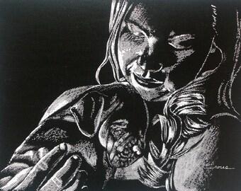 Original scratch board child puppy dog illustration drawing portrait