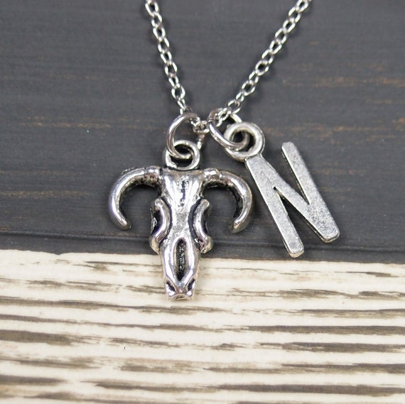 initial necklace bull skull necklace necklace by