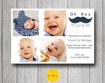 Boy Birthday Invitation Personalised Printable Any Age 1st Birthday Photo Invitation