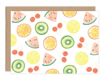 Watercolor Summery Cards Boxed Set - Watercolor Fruit Slices Stationery Set - Blank Cards
