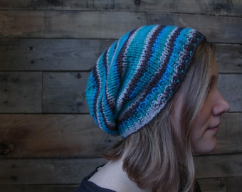 Hand Knit Tropical Storm Slouchy Beanie