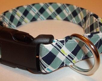 Boys Boutituqe Blue Plaid Dog Collar custom made adjustable charming fabric