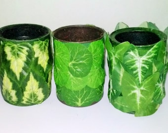 NATURE Decorated Re-cycled Household Cans Holds or Displays Anything Right Side Up or Upside Down!