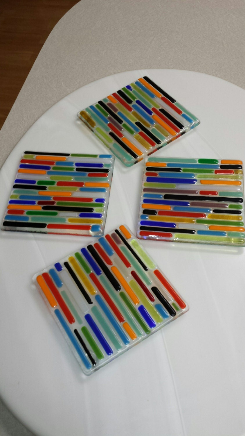 fused glass coasters by viettanoriega on etsy. Black Bedroom Furniture Sets. Home Design Ideas