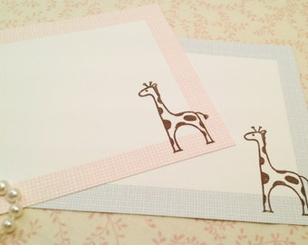 Thank You Note Cards-Giraffe Animal Safari Cards Thank You Notes-Set of 10