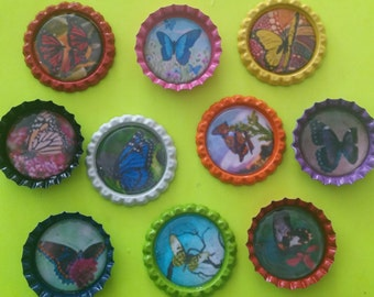 10 multi-colored butterfly them bottle cap magnets or cupcake toppers butterflies