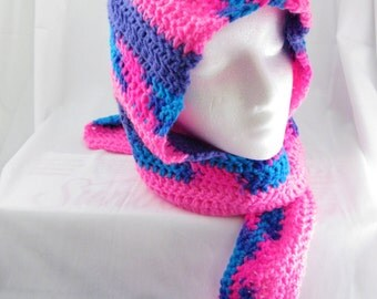 Pink, Purple and Blue Variegated, Striped Hooded Scarf