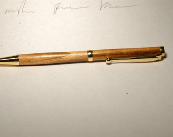 Handmade Goncalo Alves Wooden Pen - 24kt Gold