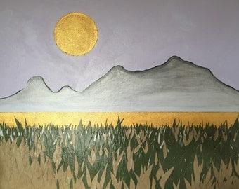 Sun, Sky, Mountains, River, Grass