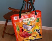 RESERVED - Up-cycled Large Heavy duty Birdseed bag tote