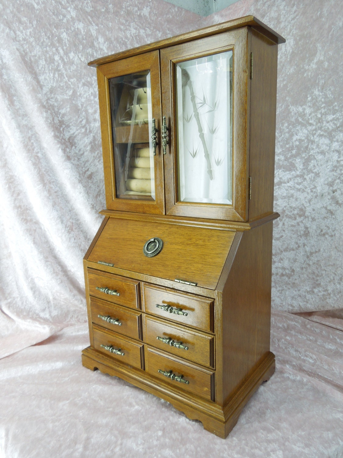 Wooden Jewelry Box in the Style of an Old Secretary Desk