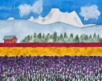 Watercolor Painting 'Skagit Valley Tulip Fields' Art Professionally Printed with Giclee on Watercolor Paper