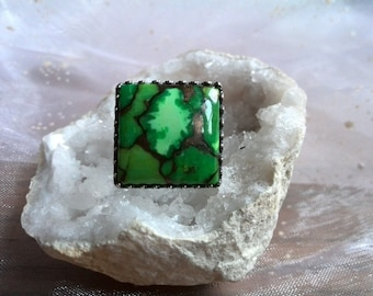 Green Mojave Turquoise & Sterling Silver Ring