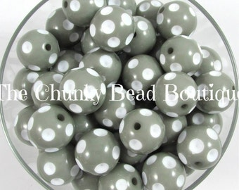 20mm gray acrylic polka dot, 10 pieces