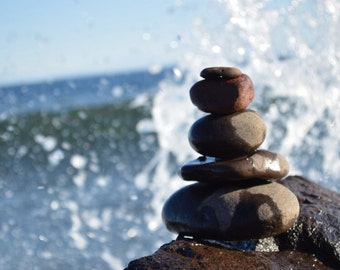 Superior Zen/photo/Lake Superior/Duluth/waves crashing/water/shore/north shore/great lakes/zen/wall art/rocks/sculpture/nature photography