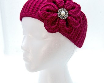 Berry Crocheted Headband with Flower