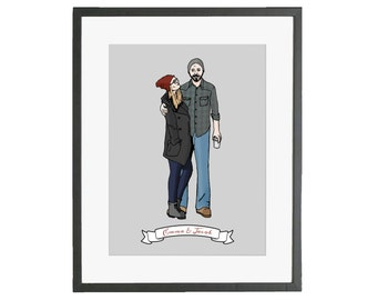 Custom Portrait Couple Wedding Gift Anniversary Gift Family Portrait Illustration