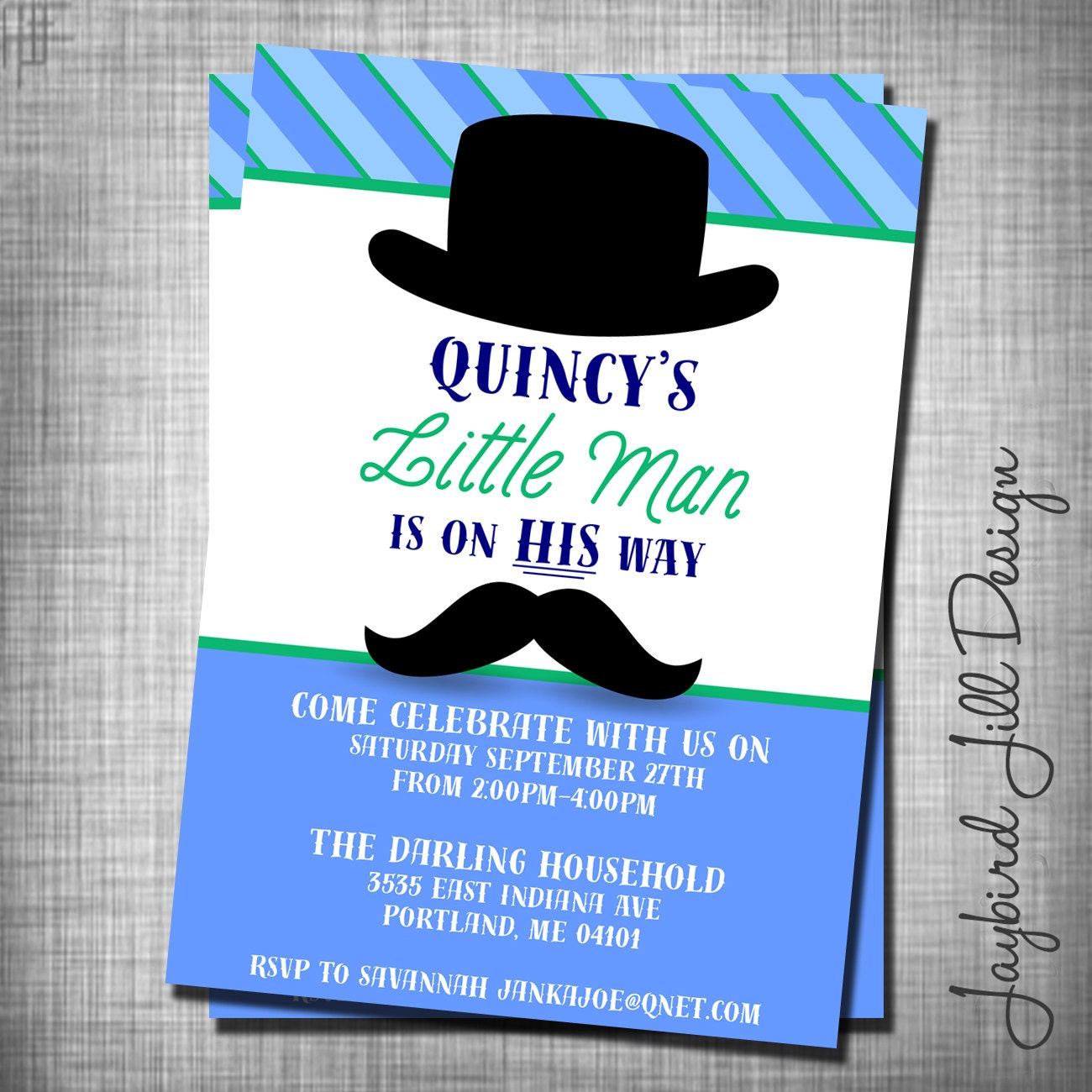 Little Man Mustache Baby Shower Invitation Trendy Baby