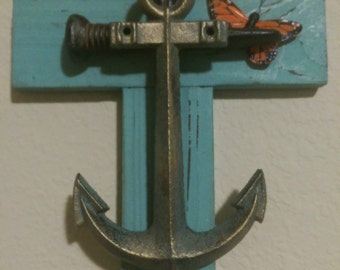Turquoise Cross with Rusted Nails, Gold Antiqued Anchor and Monarch Butterfly