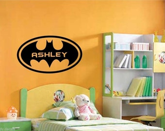 Large Batman Logo Wall Decal Sticker with Personalised Name for Kid Boy Children Room, Bedroom Wall Art Decal - Removable 1900