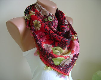Scarf, Shawl, Lace, Winter Scarf,Turkish Scarf, Oya, Yemeni, authentic, Gift Ideas For Her, Square, Mothers Day, Accessories