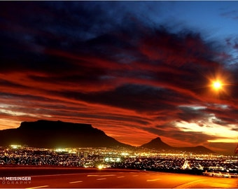 Table Mountain Sunset , Cape Town South Africa Art , Mountain Photography