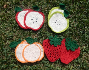 Home Made Crocheted Fruit Pot Holder/Hot Pads
