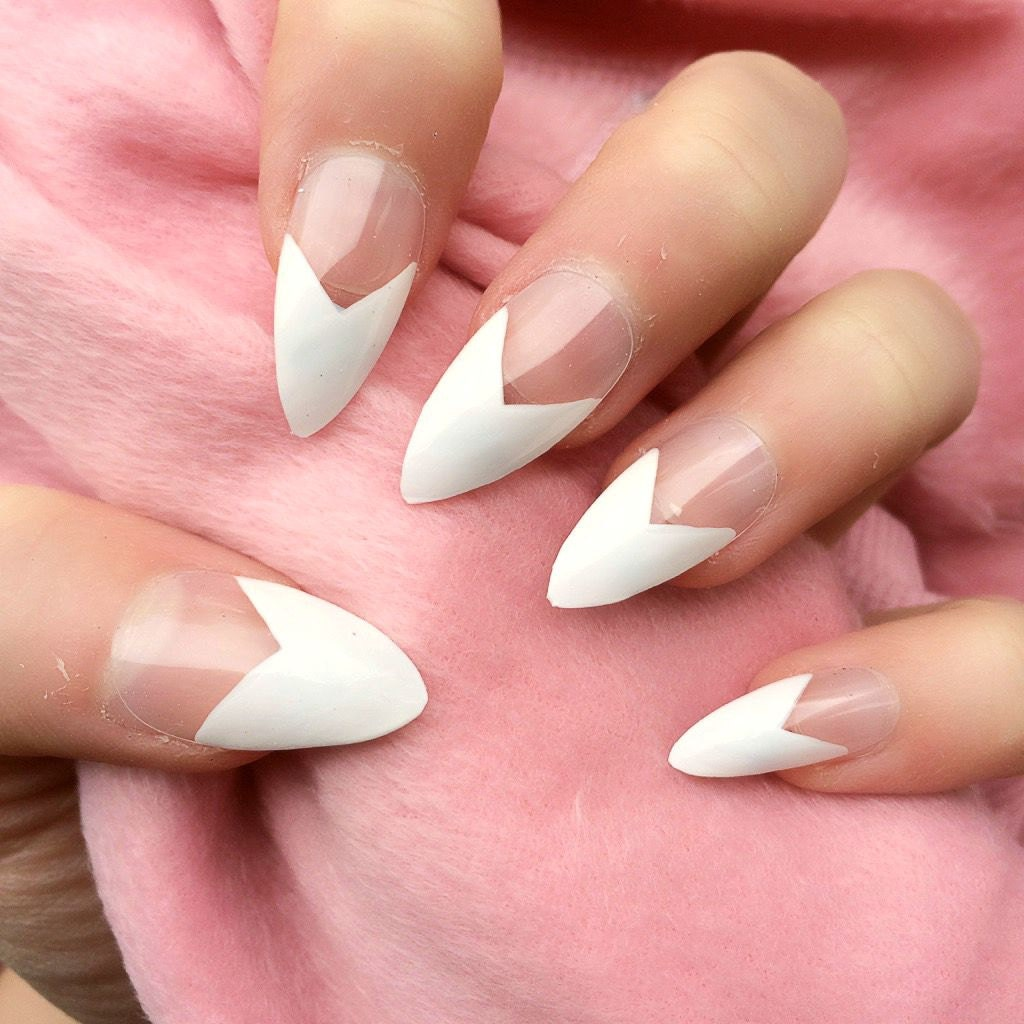 White Tip Acrylic Nails With Gems Painted Nails White Tips