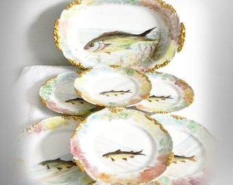 J P L Limoges France hand painted fish platter and plates set