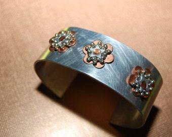 Handmade Lightweight Riveted Metal Cuff Bracelet