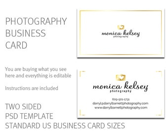 Photography business card - gold foil business card design - includes photography logo as shown. DIY Psd business card template