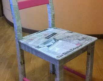 Decoupage Chair with Italian and foreign newspapers