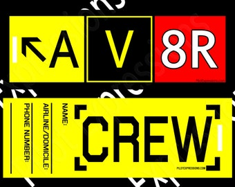 Flight Crew Luggage Tag for pilots and travelers: AV8R Taxiway Sign Crew Bag Tag. Gifts for Pilots