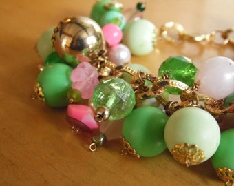 Pink and Green Charm Bracelet - Garden Inspired Chunky Charms Beaded