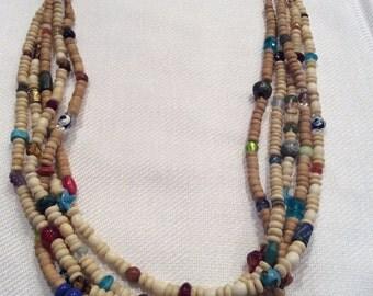 Multilevel beaded bone necklace