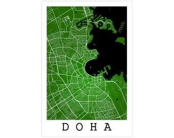 Doha Street Map, Doha Qatar, Modern Art Print, Doha Map, Doha Decor, Doha Gift Idea, Doha Art, Doha Poster, Doha Wall Art, Office Decor