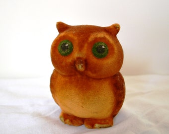 Soviet vintage toy Owl, plush toy, soviet flocking toy Owl, Collectible toy, made in USSR