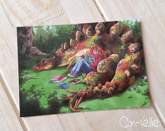 In the shade of a stegosaurus - Postcard