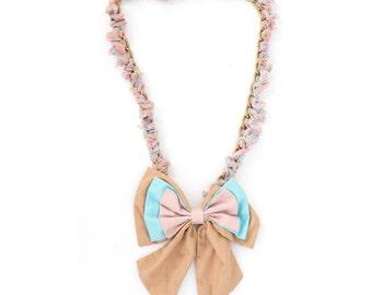 Statement Necklace - Ribbon Necklace - Bowtie Necklace - Multi-way Necklace - Bow Necklace - Pastels